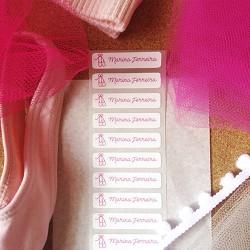 Kit de etiquetas personalizada adesivas e termocolantes para identificar collants, tutus, sapatilhas com o nome da  bailarina