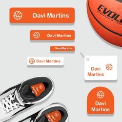Kit de etiquetas personalizadas adesivas e termocolantes para identificar artigos esportivos e da academia
