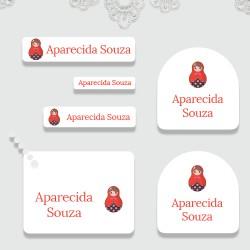Kit de etiquetas personalizadas adesivas e termocolantes + tag PVC