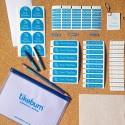 Kit de etiquetas personalizada adesivas e termocolantes para identificar materiais escolares, uniformes e sapatos no volta às au
