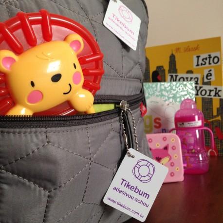 Tag de PVC com corrente de metal tipo chaveiro para identificar bolsas, malas, mochilas e lancheiras